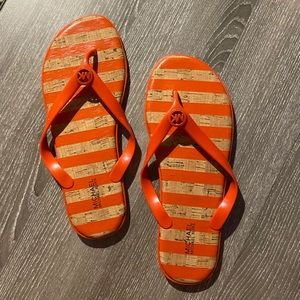 Michael Kors Jelly Jet Set Stripe Cork Flip Flops